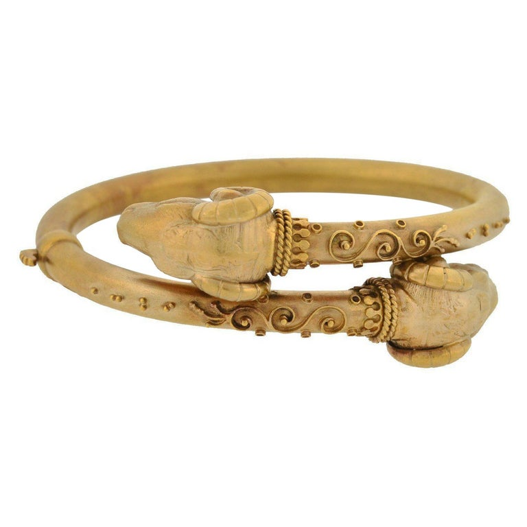 Victorian Etruscan Double Ram's Head Bypass Bracelet For Sale