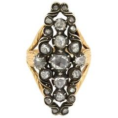 Victorian 0.90 Total Carat Foil Backed Diamond Navette Ring