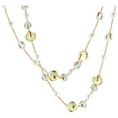 Marina B Green Chalcedony, Blue Chalcedony and Pearl Necklace