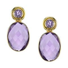 21.40 Carat Amethyst Bezel Set 18 Karat Yellow Gold Drop Earrings