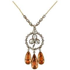 Georgian Imperial Topaz and Diamond Trefoil Pendant Necklace