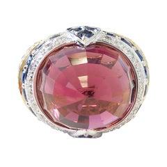 Pink Tourmaline, Blue Sapphire, and Diamond Cocktail Ring in 18 Karat Gold