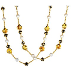 Marina B Citrine, Black Jade and Pearl Cardan Necklace