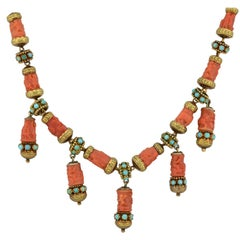 Victorian Carved Natural Coral and Persian Turquoise Festoon Cherub Necklace