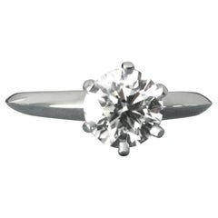 Tiffany & Co. Platinum Diamond .46 Carat Round Engagement Ring F VS1
