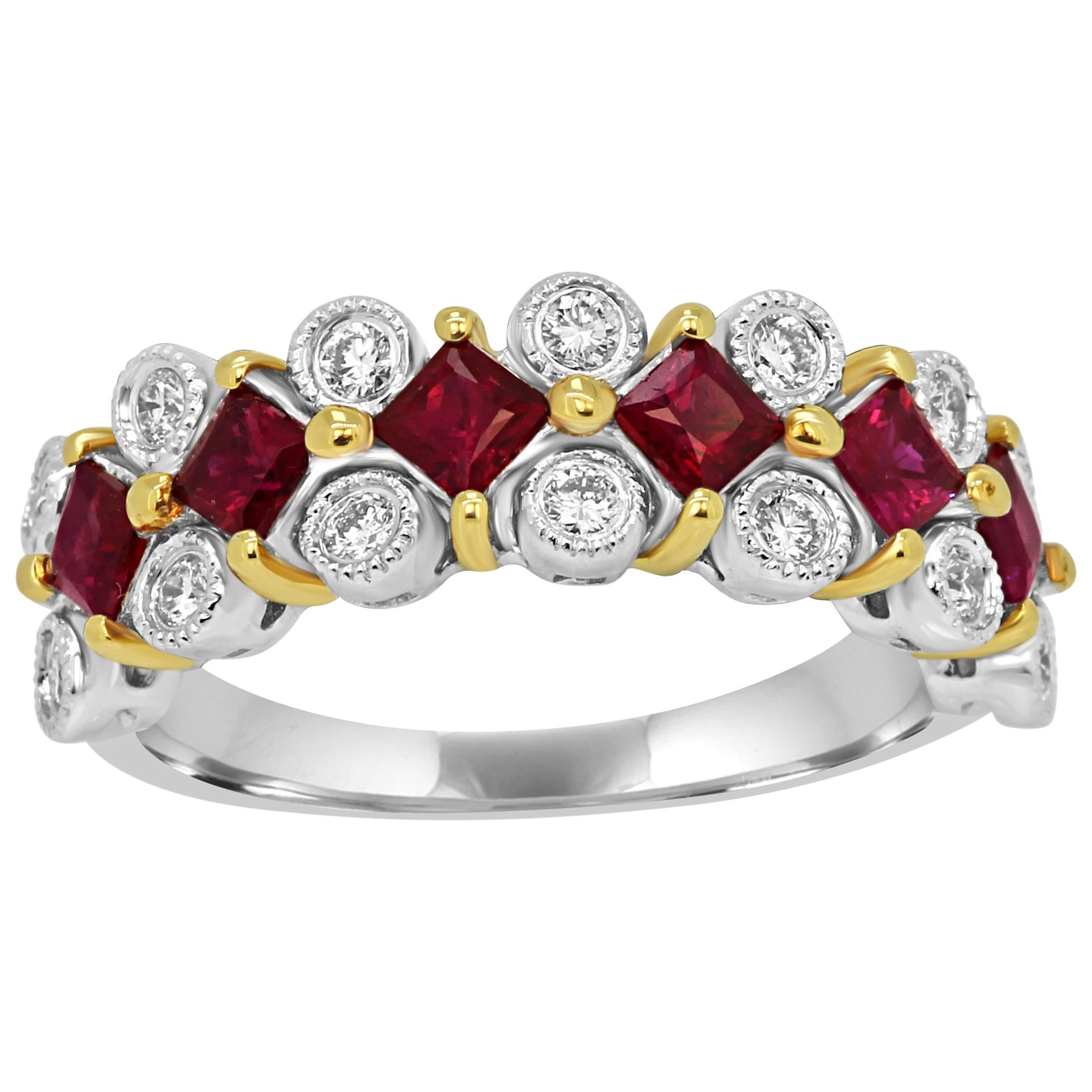 Ruby Princess Cut White Diamond Round Two Color Gold Band Fashion Cocktail Ring