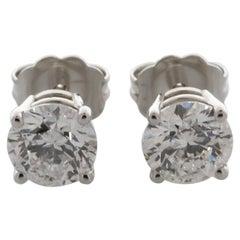 EGL USA Certified 1.42 Carat TW D Color SI2 Clarity Round Cut Diamond Earrings