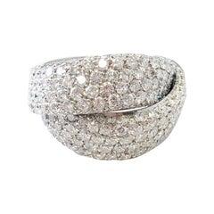 White Diamond Pave Cocktail Ring in Platinum