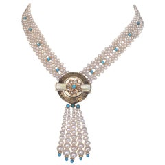 Marina J. Woven Pearl and Turquoise Necklace with 14K Yellow Gold Centerpiece