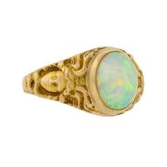 Art Nouveau Opal Repousse Medusa Ring