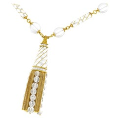 Rock Crystal and Gold Tassel Necklace