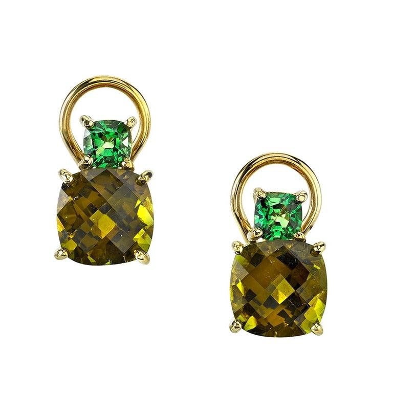 Checkerboard Cut Green Tourmaline and Tsavorite Garnet 18 Karat Gold Earrings For Sale