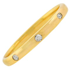 Victorian 1.90 Total Carat Diamond 3-Stone Bangle Bracelet