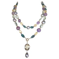 Marina J. Pearl, Amethyst & Citrine Necklace with 14k Gold & Removable Pendant