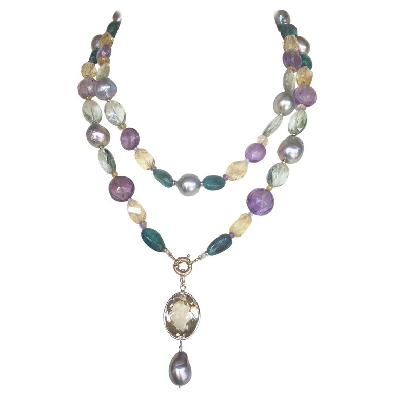 Marina J Pearl, Amethyst and  Citrine Necklace with 14k White and Yellow Gold For Sale