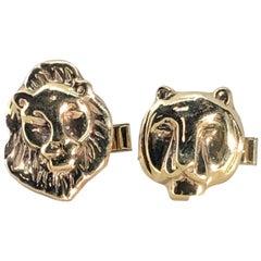 Vintage Unisex Cufflinks in Lion and Lioness Design Made in 14 Karat Yellow Gold