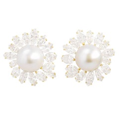 Spectacular Diamond and Pearl-set Gold Earrings