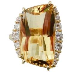 Michael Kneebone Scissor Cut Golden Beryl White Diamond Cocktail Ring