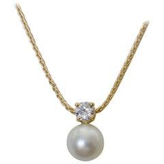 Michael Kneebone White Sapphire South Sea Pearl Wheat Chain Pendant