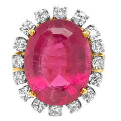 18 Karat Gold, 18.25 Carat Rubellite and Diamond Ring