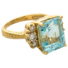 7.88 Total Carat Weight Natural Aquamarine and Diamond Ring 14 Karat Yellow Gold