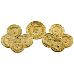 14 Karat Yellow Gold Coat of Arms Yale University Nine Piece Blazer Button Set