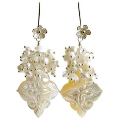 Carved Mother of Pearl Freshwater Pearls Rock Crystal Cluster Earrings, Sabrina