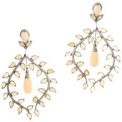 Goshwara Opal Diamond 18 Karat Gold Large Chandelier Earrings