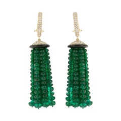 Goshwara Zambian Emerald Tassel Onyx Diamond 18 Karat Gold Earrings