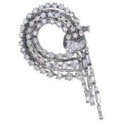 1950s French Platinum 4 Carat Brilliant Round Diamond Set Bow Brooch Pin Pendant