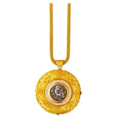 24 Karat Handcrafted Tapered Granulated Coin Necklace Adorned with Diamonds