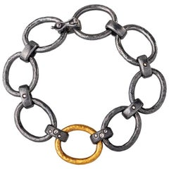 Handcrafted Gold and Silver Combination Oval Loop Chain Bracelet with Diamonds