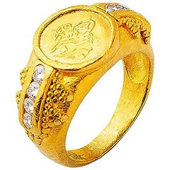 24K Gold Handcrafted Jewelry Ottoman Coin Tapered Classic Ring with Diamonds
