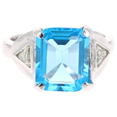 6.94 Carat Blue Topaz Diamond 14 Karat White Gold Ring