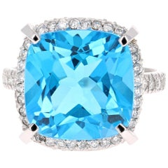 11.92 Carat Blue Topaz Diamond 14 Karat White Gold Ring