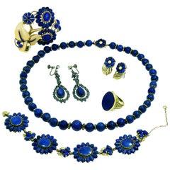 Seaman Schepps Lapis Lazuli Gold Vintage 6 Piece Jewelry Set