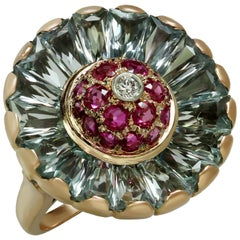 Trabert & Hoeffer-Mauboussin Diamond Aquamarine Ruby Rose Gold Fan 1940s Ring