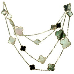 Van Cleef & Arpels Magic Alhambra 16 Motif Onyx Mother of Pearl Gold Necklace