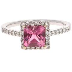 1.33 Carat Tourmaline Diamond 14 Karat White Gold Ring