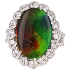 6.48 Carat Ammolite Diamond 14 Karat White Gold Cocktail Ring