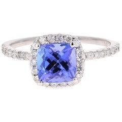 1.93 Carat Tanzanite Diamond 14 Karat White Gold Engagement Ring