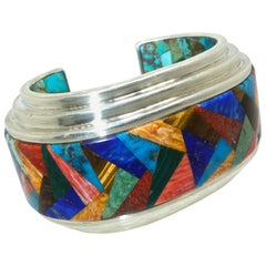 Large Sterling Silver and Precious Stone Cuff Bracelet