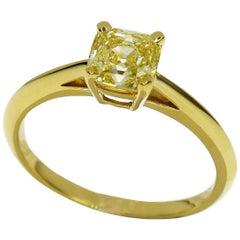 Tiffany & Co. 1.03 Carat Fancy Intence Yellow Diamond 18Karat Gold Ring US 5 3/4