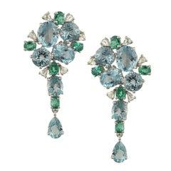 Set in 18K white gold, Aquamarine, Emerald and Rose Cut Diamond Dangle Earrings
