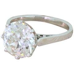 Art Deco 3.40 Carat Old Cut Diamond Platinum Engagement Ring