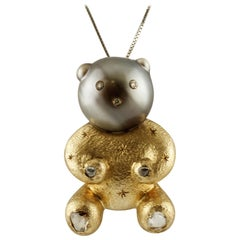 Grey South Sea Pearl, Diamonds, 9 Karat Rose Gold Lovely Bear Pendant