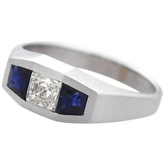 1930s Art Deco Diamond Sapphire White Gold Cocktail Ring