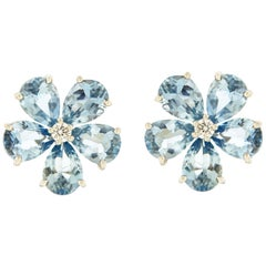 Valentin Magro Small Cluster Aquamarine Earrings