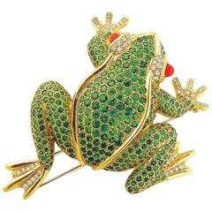 Valentin Magro Small Tsavorite, Opal and Diamond Frog Brooch