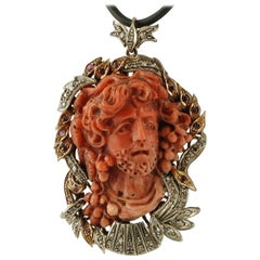 Engraved Face on Red Coral, Diamonds, Rubies,Gold/Silver Retrò Pendant/Brooch
